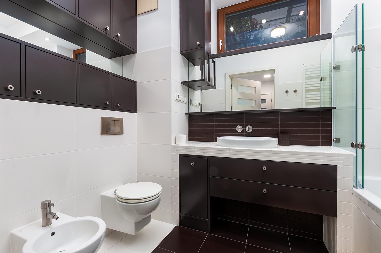 Zdjęcie wnętrza - bidet, toaleta, umywalka i lustro w łazience
