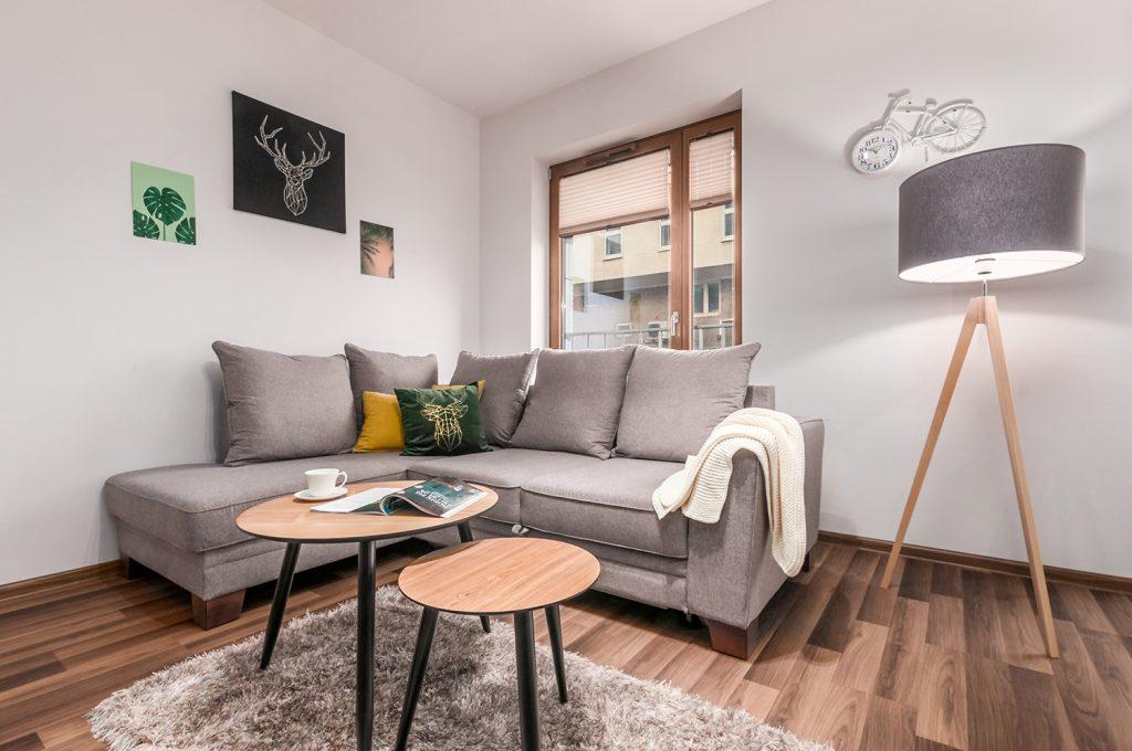 Zdjęcie wnętrza - Stolik z gazetą, lampa i szara sofa przy oknie