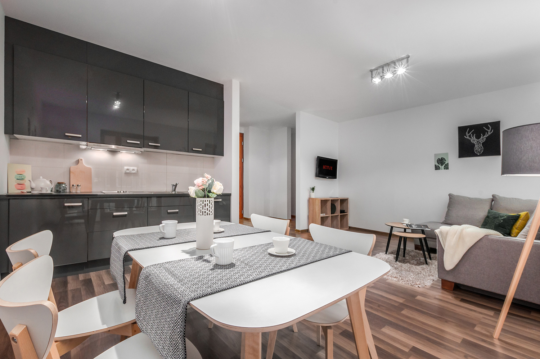 Zdjęcie wnętrza - widok z jadalni na salon i aneks kuchenny