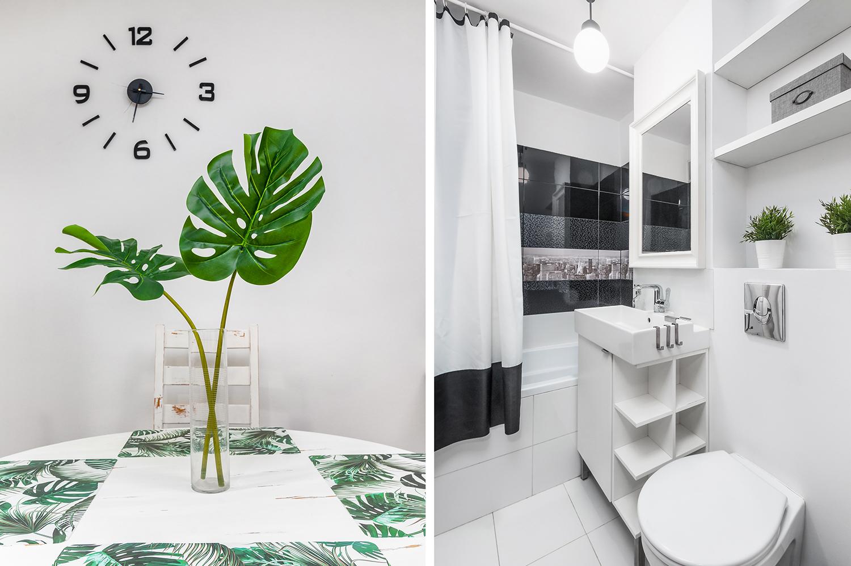 Zdjęcie wnętrza - ozdobne liście w doniczce i łazienka