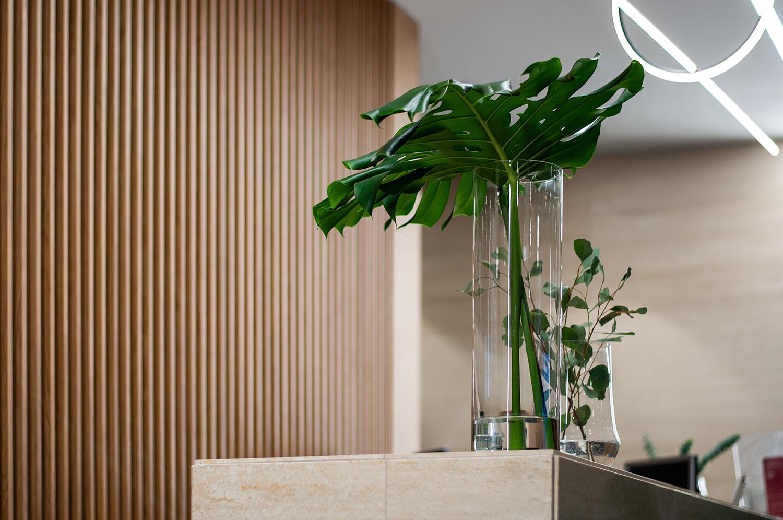Zdjęcie wnętrza - liść w szklanej wazie na tle drewnianej ściany