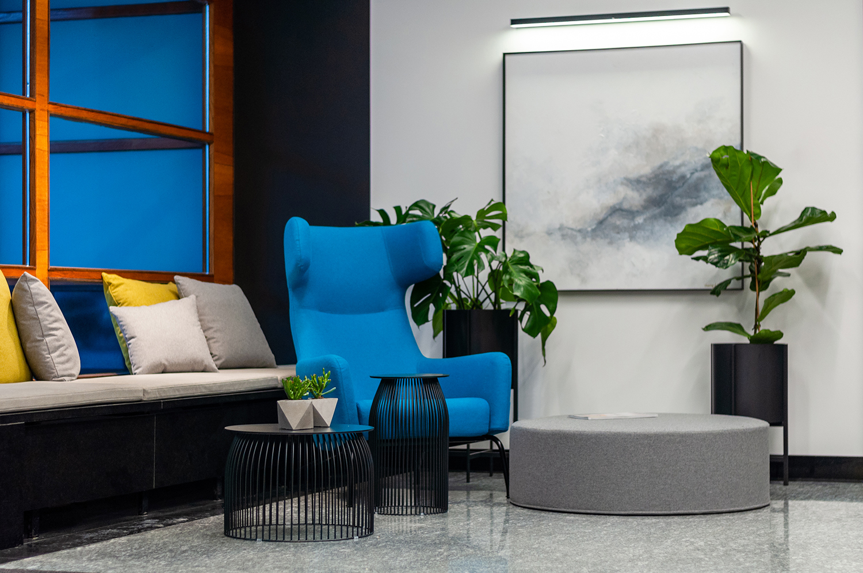 Zdjęcie wnętrza - fotel i okrągła pufa przy oknie