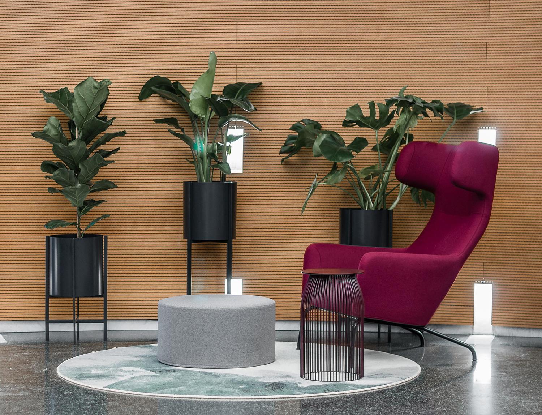 Zdjęcie wnętrza - różowy fotel i pufa na tle trzech kwiatów