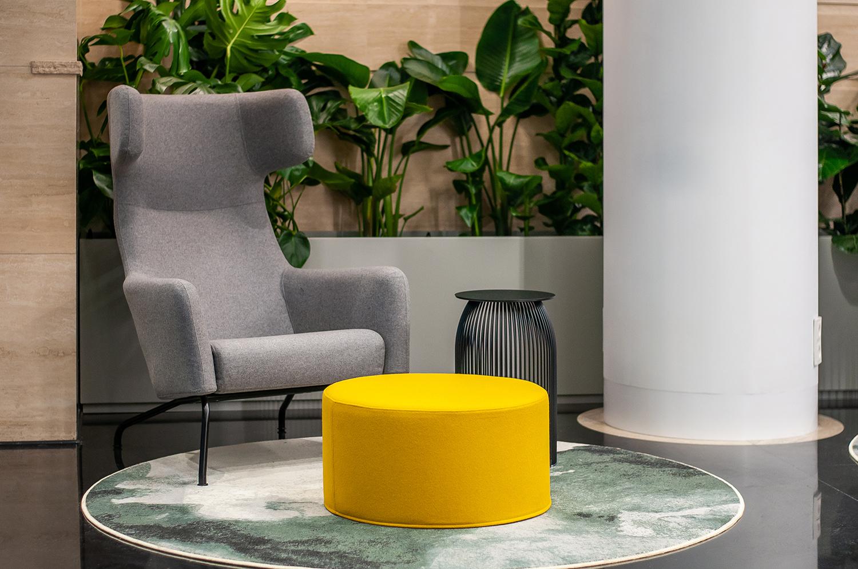 Zdjęcie wnętrza - jasny fotel i pufa na tle roślin